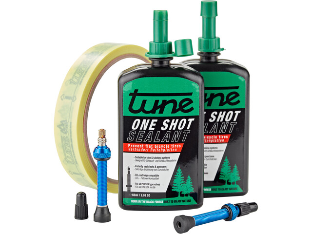 Tune One Shot Kit tubeless Bici da corsa 60ml incl. 18mm nastro per cerchioni blu